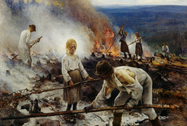 NGF476513 Under the Yoke (Burning the Brushwood), 1893 (oil on canvas) by Jarnefelt, Eero Nikolai (1863-1937); 131x164 cm; Ateneum Art Museum, Finnish National Gallery, Helsinki, Finland; (add.info.: Also known as 'Wage Slaves / Burn-Beating'); PERMISSION REQUIRED FOR NON EDITORIAL USAGE; Finnish,  it is possible that some works by this artist may be protected by third party rights in some territories